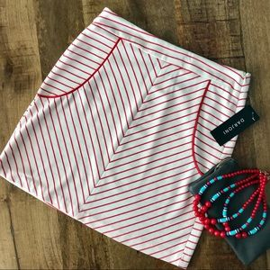 NWT Darjoni white and red striped skirt.